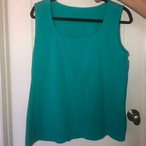 Bright turquoise tank top/ sleeveless blouse